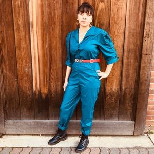 Other - 1980s Teal Jumpsuit
